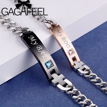 GAGAFEEL My Boo & My Bae Couple Bracelets Bangle Stainless Steel Crystal Stone Bracelet For Women Men DIY Engrave Jewelry