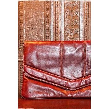 Vintage 1970s Whiskey + Leather Envelope Clutch