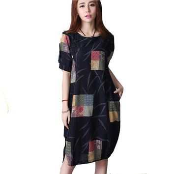 ONETOW Summer new arrival 2016 women linen loose print o-neck plus size vintage short sleeve knee-length dress BL1465