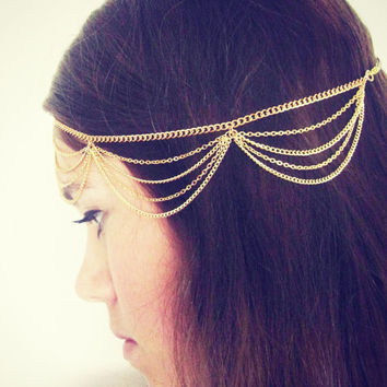 CHAIN HEADPIECE- chain headdress head chain