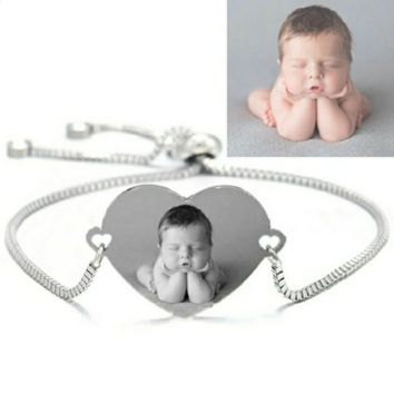 Engrave Photo Name Date Bracelet Stainless Steel