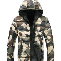 Men's Winter Down Hooded Thick Double-Sided Camouflage Coat-Green