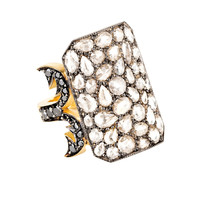 Gold & Silver Black & White Diamond Ten Table Ring