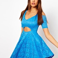 Oh My Love Cold Shoulder Cut Out Lace Dress at asos.com