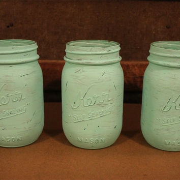 Painted Mason Jars- Aqua- Turquoise- Mint-  Distressed- Shabby Chic- Cottage- Wedding Decoration- Centerpiece- Vase- Office Decor- Set Of 3
