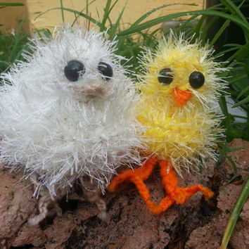 Crochet Fuzzy Easter Chick, Yellow or Cream, Stuffed Animal Plush Toy, Made to Order