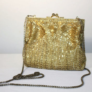 Gold Beaded Handbag, Clutch Purse Chain Strap
