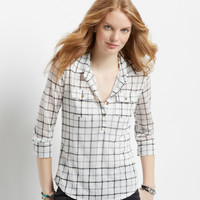 Aeropostale  Sheer 3/4 Sleeve Checkered Hi-Lo Popover Top
