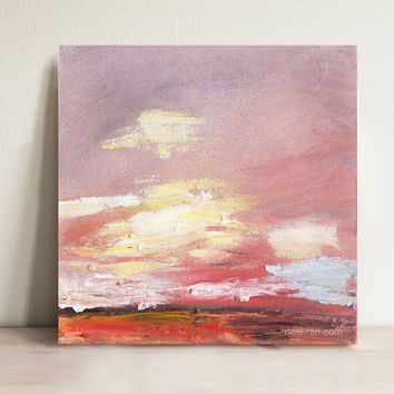 "Sunset 10""x10"" Small Original Oil Painting"