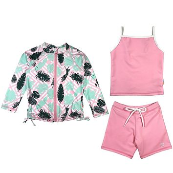 "Girl Long Sleeve Rash Guard Shorts Set with Tankini (3 Pieces) UPF 50+ | ""Palm Breeze"""