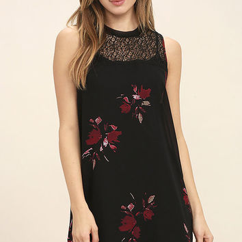 Gentle Fawn Ethereal Black Floral Print Shift Dress
