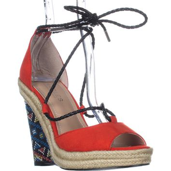Charles Charles David Boston Lace Up Wedge Sandals, Fire/Multi, 9 US