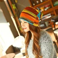 New Arrival Women's Fashion Accessories Autumn Winter Headdress Caps Hat Colorful Striped Scarf Headbands Beanies Multi Use