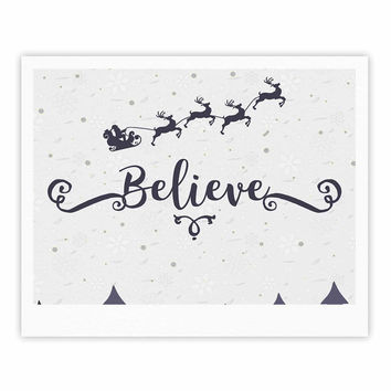 "Famenxt ""Christmas Believe"" Gray Lavender Illustration Fine Art Gallery Print"