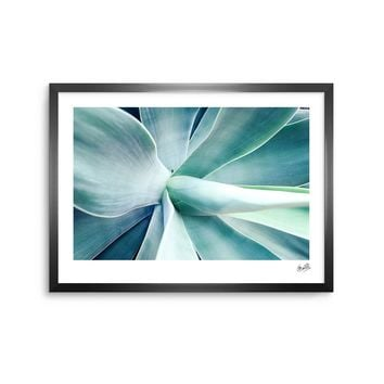 Succulant - Green Teal Nature Photography Framed Art Print