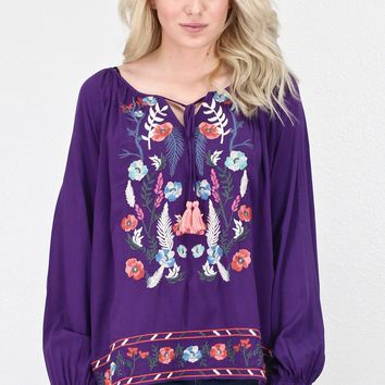 Tassel Tie Embroidery Blouse {Purple}