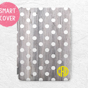 Polka Dots personalized Smart Cover wood print Monogram custom initial name case for iPad Mini, iPad mini 2 retina, iPad Air, iPad Air 2