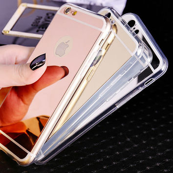 Fashion Soft Mirror Phone Case For Coque iPhone 5s 5 6 6s 6plus 6s plus 7 7Plus Ultra Thin Soft Electroplating Make UP Mirror Back Cover Fundas+Nice Gift Box !