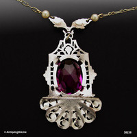 Edwardian Necklace Antique 1920s Faceted Purple Glass Lavalier Pendant Necklace Art Deco Wedding Necklace