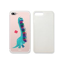 Cute Dinosaur Holding Books Clear Transparent Plastic Phone Case for iphone 7 _ SUPERTRAMPshop (iphone 7)
