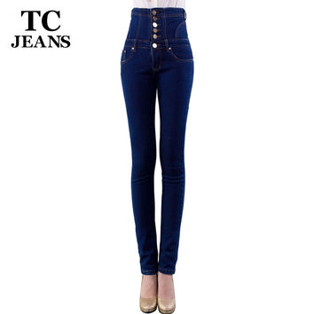 TC Plus Size Skinny Jeans 2016 New Womens Fashion Blue High Waist Single-Breasted Button Pockets Jeans Denim Pencil Jeans FT0695