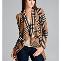 Wrap Me Up In Plaid Cardigan - Taupe