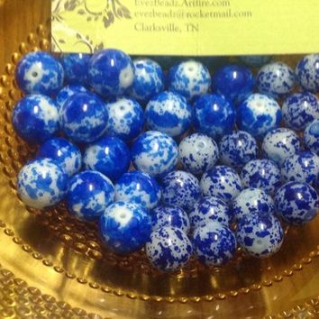 12mm or 10mm Blue Speckled Glass Gum Ball Jawbreaker Candy Beads