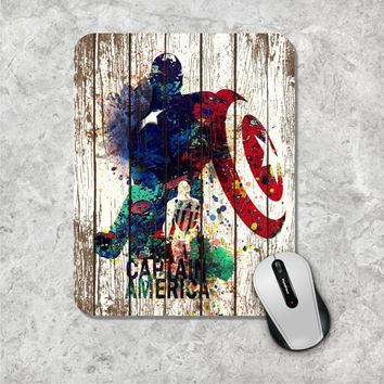 Captain America, Watercolor Mouse Pad, Marvel Comic Mouse Mat, Superhero, The Avengers, Wooden, Personalized Computer Accessories, Custom