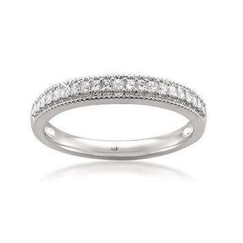 CERTIFIED 1/3 cttw 14k White Gold Princess-cut Diamond Milgrain Vintage Bridal Wedding Band Ring (1/3 cttw, H-I, SI2-I1)