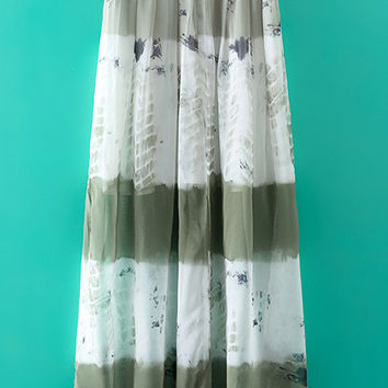 Multicolor Elastic Waist Tie-Dye Print Long Skirt