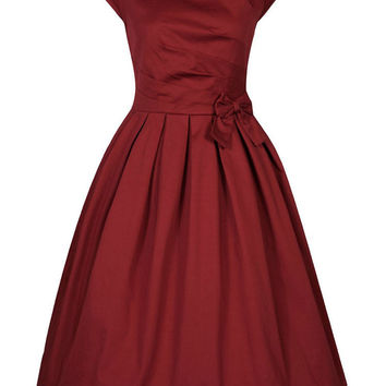 Summer Audrey Hepburn Dress Sleeveless Bowknot Midi Swing Vintage Dress