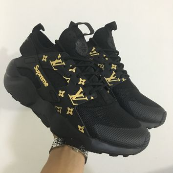 Best Online Sale LV x Supreme x Nike Air Huarache 4 Black Men Women Mesh Hurache Sport Running Shoes  Casual Shoes Sneakers 819685-106