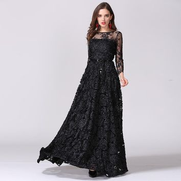 and usa catwalk vintage hollow lace perspective stereo disk flower princess dress Elegant long maxi dress