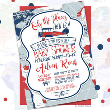 Airplane baby shower invitations, airplane invitation, oh the places, oh the places he'll go, boy baby shower, travel, world, airplane,