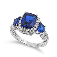 925 Sterling Silver CZ Three Stones Embraced Rectangular Simulated Sapphire Ring 13MM