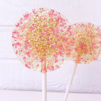Pink, Coral and Gold Wedding Favors, Hard Candy Lollipops, Candy Lollipop, Sparkle Lollipops, Sweet Caroline Confections, SIX LOLLIPOPS
