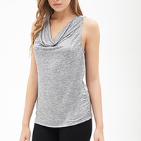 LOVE 21 Heathered Cowl Neck Top Silver/Black