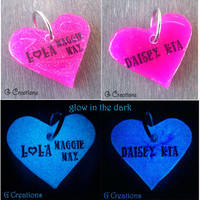 Heart Dog Tag - Custom Color - Glow in the DARK