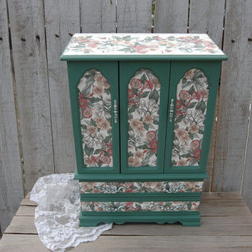 Jewelry Box, Armoire, Shabby Chic, Green, Decoupage, Upcycled, Tall, Large, Flowered