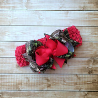 Shocking Pink Camouflage Boutique Hair Bow, Headband, Stacked Hair Bow, Custom Made to Match Camouflage and Pink Hair Bow