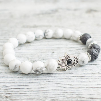 White howlite and black lava stone beaded silver Hamsa hand stretchy bracelet, yoga bracelet, mens bracelet, womens bracelet
