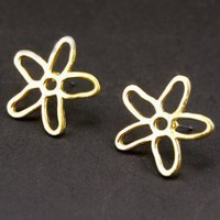 Hollow Out Big Flower Earrings Golden : Wholesaleclothing4u.com