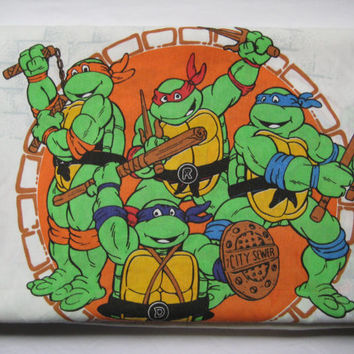 Vintage 1990 Teenage Mutant Ninja Turtle TWIN Flat Bed Sheet Clean Kids Bedding Girl Boy Craft Fabric