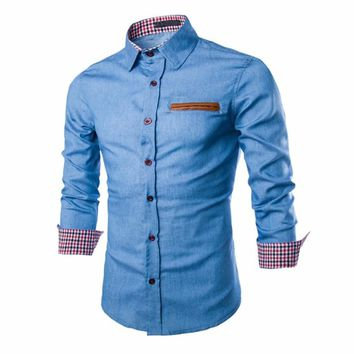 Men's Long Sleeve Denim Patchwork Shirt