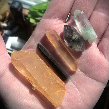 Crystal Lot/Green Ghost Pyramid Quartz/Red Lemurian Seed/Smokey Lemurian Seed/Tibetan Black Phantom DT Quartz/Raw Golden Healer Quartz