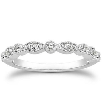 14k White Gold Vintage Look Fancy Pave Diamond Milgrain Wedding Ring Band, size 6