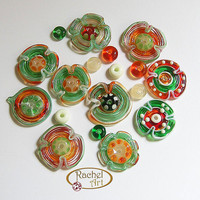 Christmas  Beads, Flower Beads, Lampwork Glass  Set, Handmade Lampwork Glass Beads Disc (18 )