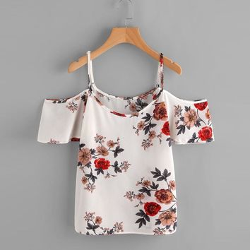 High Quality Chiffon Camis Women Floral Prited Casual Off Shoulder Short Sleeve Crop Top Vest Tank Shirt Blusa Cami Top