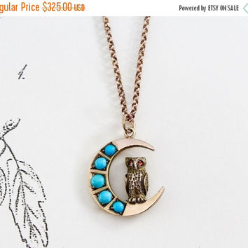 Victorian Owl and Crescent Moon Pendant, Antique 10k Yellow & Rose Gold and Turquoise, Bohemian Bride Bridal Anniversary Gift Jewelry