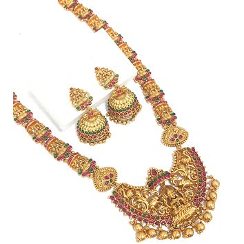 Goddess Lakshmi Chain and Pendant Matte gold finish Long haram necklace and jhumka earring set